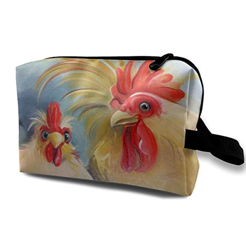 方法口実干渉Funny Hen Rooster Couple Chicken Art 収納ポーチ 化粧ポーチ 大容量 軽量 耐久性 ハンドル付持ち運び便利。入れ 自宅?出張?旅行?アウトドア撮影などに対応。メンズ レディース トラベルグッズ