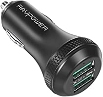 Quick Charge 3.0 Car Charger RAVPower 40W 3A Car Adapter with Dual QC USB Ports Compatible Samsung Galaxy Note 8 / S9 /...