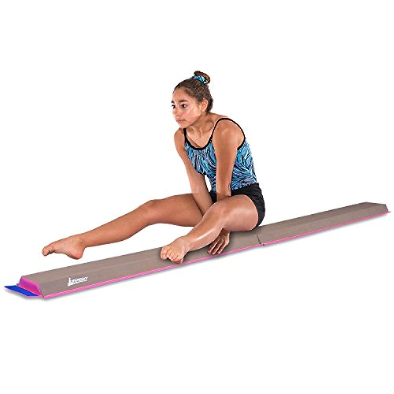 JuperbSky キッズ向け練習用平均台 体操 半分に折り曲げ可能 接合可能 スエード張り床フォーム 8フィート