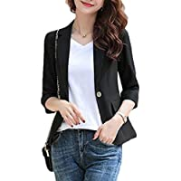 Macondoo Womens Business Work One Button 3/4 Sleeve Coat Blazer Jackets