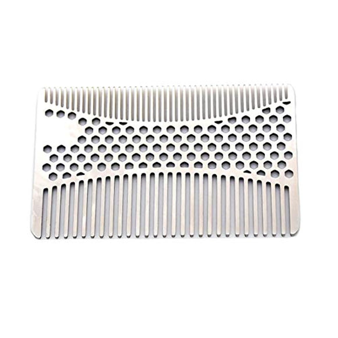スキャンダルによると引っ張るなめらかな、耐久性のあるステンレススチールの髪と髭の櫛 - 2個財布櫛 モデリングツール (色 : Silver)