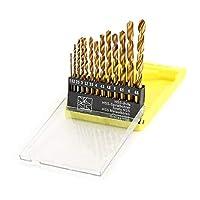 13PCS HSSドリルビット1.5-6.5mmロータリーパワーツールホールソーチタンコーティング木工プラスチックアクセサリーセットドリル穴-ゴールド