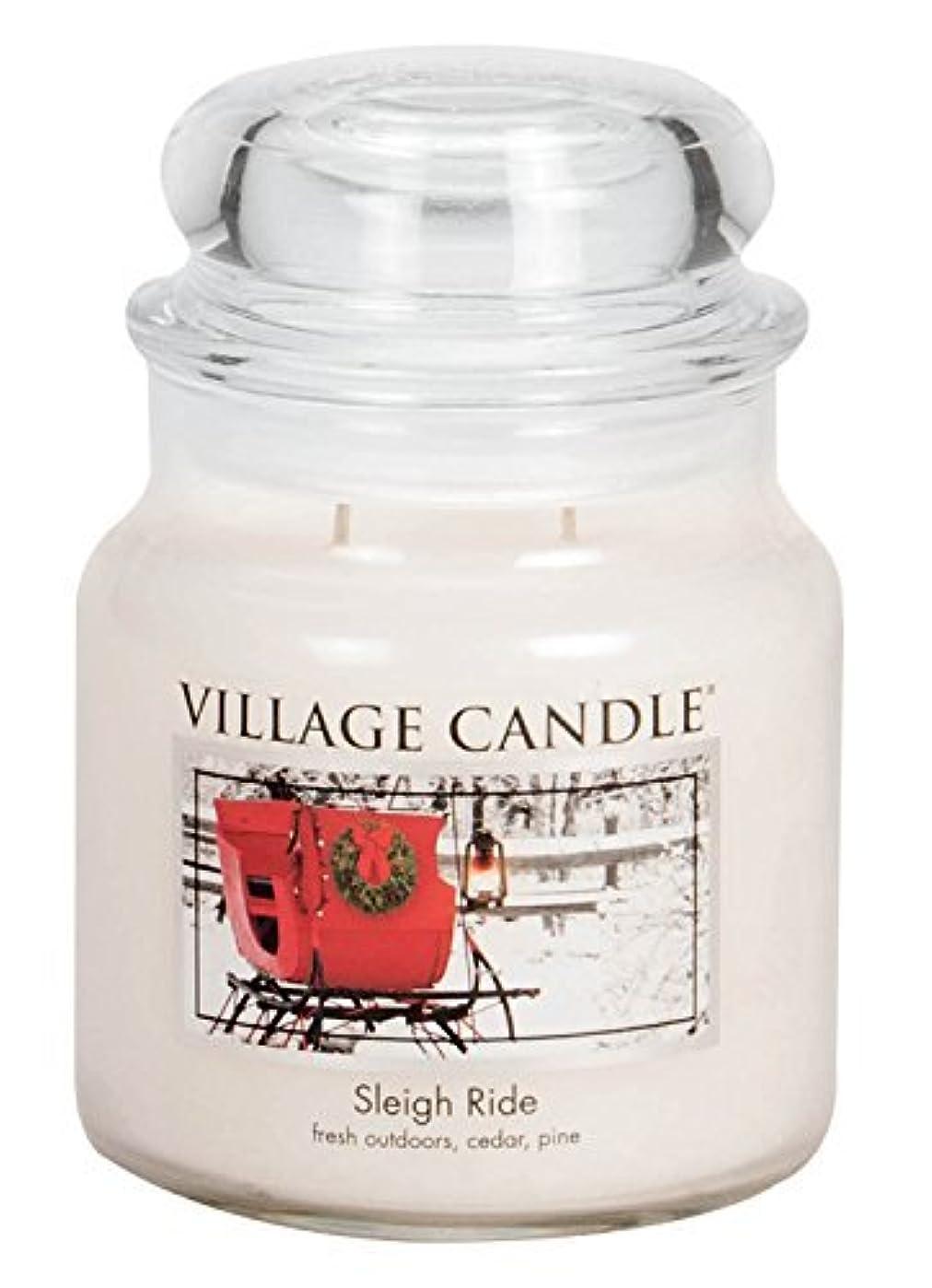 恐竜義務付けられた乗り出すVillage Candle Sleigh Ride 16 oz Glass Jar Scented Candle%カンマ% Medium [並行輸入品]