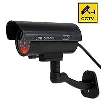 ダミーカメラ、FAKEシミュレートされたセキュリティカメラBuilt InライトLED点滅屋外や屋内ホーム、ビジネス監視ボーナスCCTVの警告ステッカーデカール
