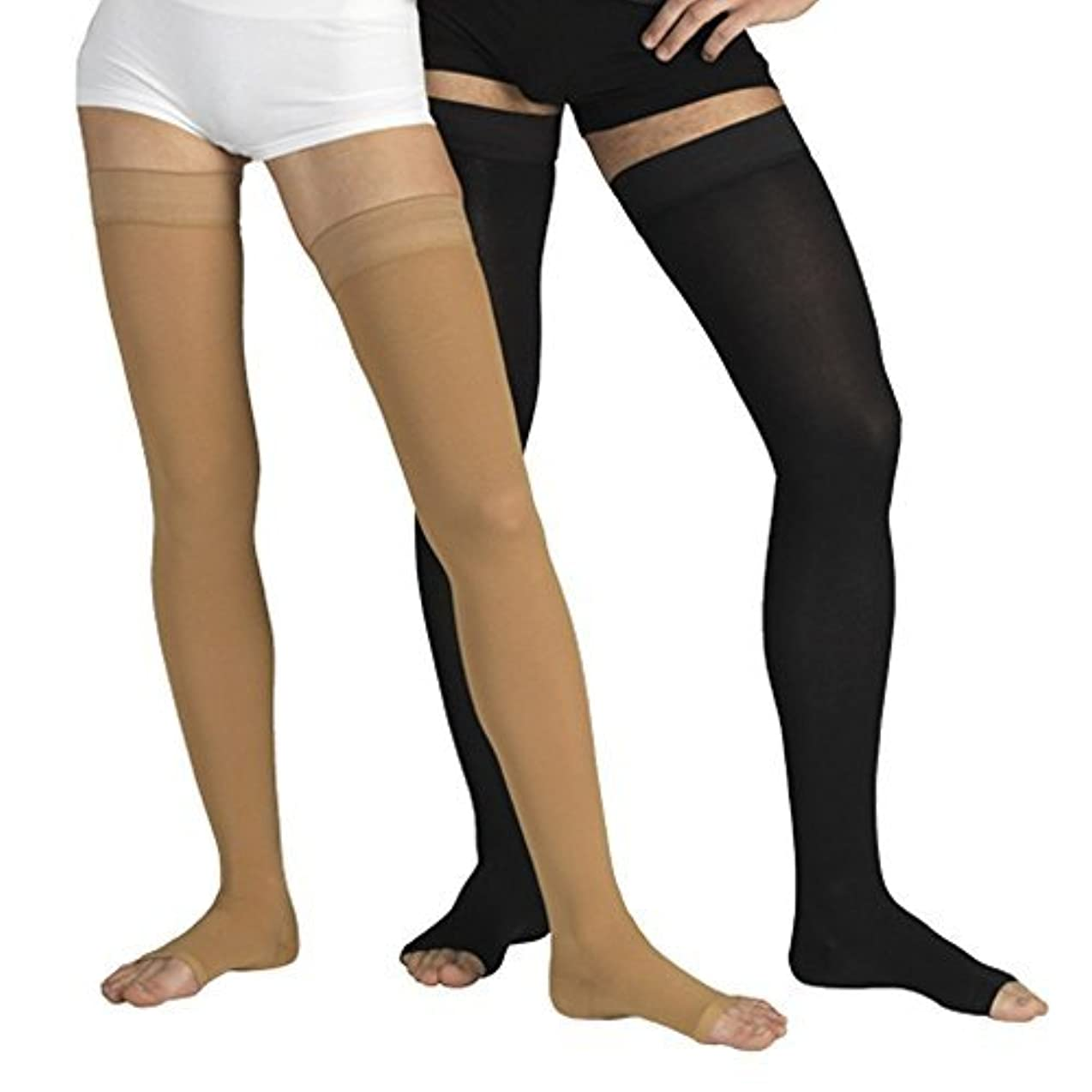 思い出させるワイド指定するINFINITUM MEDICAL COMPRESSION Stockings with OPEN Toe, FIRM Grade Class I or II, Thigh High Support Socks without...