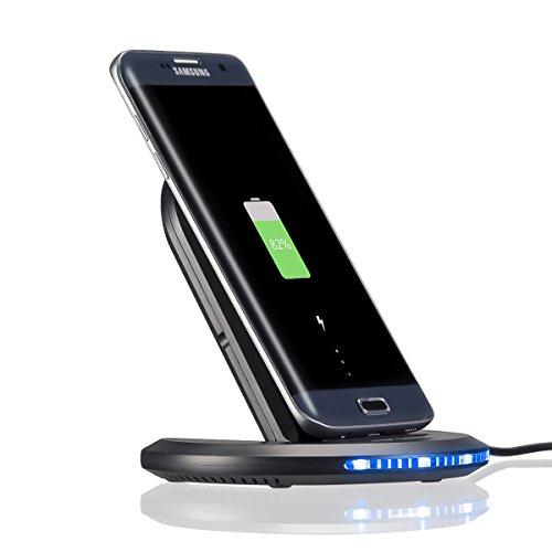 Qiワイヤレス充電器 Wrcibo ワイヤレスチャージャー 2つのコイル 急速充電器 折り畳み式 スマホ 充電 スタンド Galaxy S8、S8 Plus、iphone 8などQi対応機種