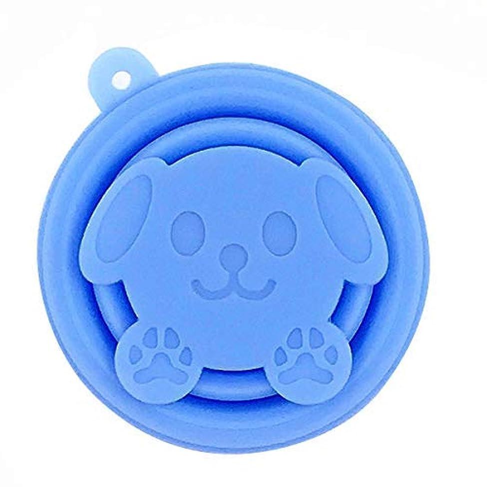 半球韻確認してくださいchen guanguan ポータブルシリコーン漫画猫伸縮式飲料折りたためる畳まカップ旅行キャンプツール、ブルー