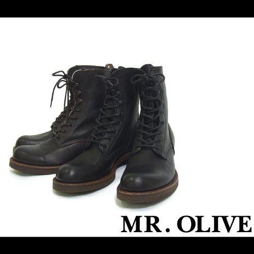 【MROLIVE(ミスターオリーブ)】ウォータープルーフレースアップロガーブーツ 8 1/2(M)サイズ ブラウン