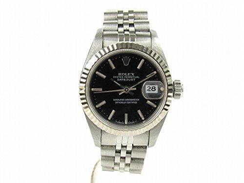 [ロレックス] ROLEX デイトジャスト 腕時計 ウォッチ ブラック K18WG(750)ホワイトゴールド x ステンレススチール(SS) 69174 X番 [中古]