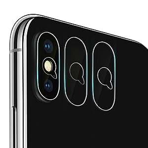 iPhoneX/Xs/Xs Max用カメラフイルム レンズ保護ガラスフィルム 0.1mm 強化ガラス 指紋防止 高硬度9H 自動装着 99%高透過率 耐衝撃 飛散防止 日本製旭硝子素材 カメラ液晶保護フィルム(カメラレンズ保護フィルム*3枚)
