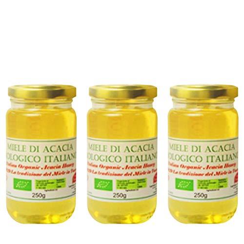 オーガニック生はちみつ(アカシア/250g×3個) 非加熱・無添加 EUオーガニック認証 イタリア「ヴァンジェリスティ」のオーガニック生蜂蜜 砂糖・水あめ不使用