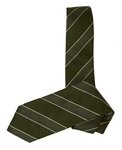 [ヒューゴボス] ネクタイ シルク ストライプ グリーン イタリア製 7.5CM HB-259 [並行輸入品]