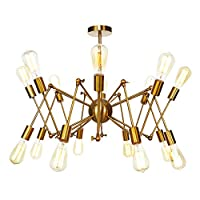 CCSUN 16 分支 現代の シャンデリア, クリエイティブ E26 レトロ ペンダント 調節可能な アンティーク シャンデリア セミフラッシュマウント 天井灯 の 回廊 キッチン レストラン 階段-真鍮 16灯