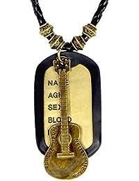 The Jewelboxヒップホップギター音楽ブロンズヴィンテージアンティーク仕上げ犬タグペンダントレザーチェーン