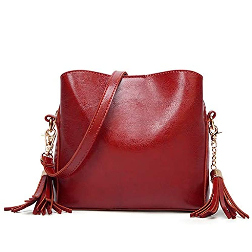 形状テナントむしろ女性革フラップタッセルショルダーメッセンジャークロスボディバッグカジュアルクラッチトートバッグ、女性のソリッドカラータッセル革ショルダーバッグ斜め小さな正方形のバッグハンドバッグハンドバッグ (赤)