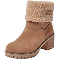 AicciAizzi Women Casual Mid Heel Snow Boots Pull On