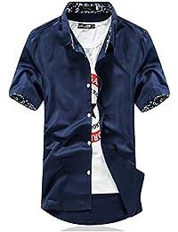 [meryueru(メリュエル)] デザイン カラー 半袖 カジュアル シャツ サマー ファッション ベーシック トップス メンズ