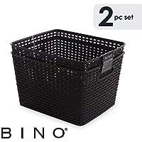 Bino Wovenプラスチックストレージバスケット L ブラック 11042-BLK