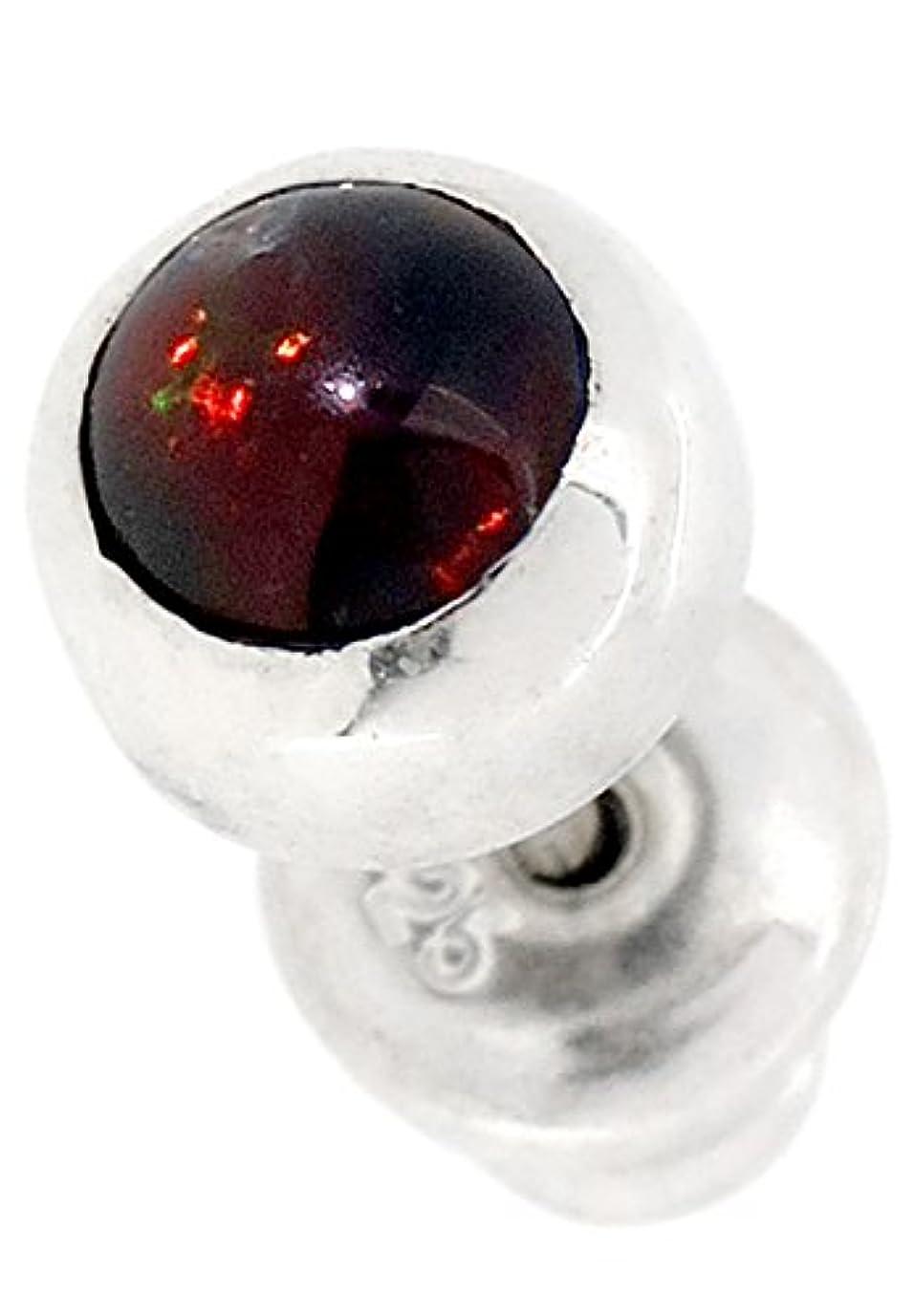 ホイッスル品受信機[グランデュアー]GRAN DEUR 全六種類 ラウンド ブラックオパール シルバー 925 ピアス (1P 片耳用) メンズ 人気 ブランド シンプル 天然石