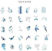Weanty DIY 手帳 ステッカー 和紙 日記DIY 飾り シール 和紙シール 装飾用 カラフル 剥がしやすい 飾り付け 9*18.5cm