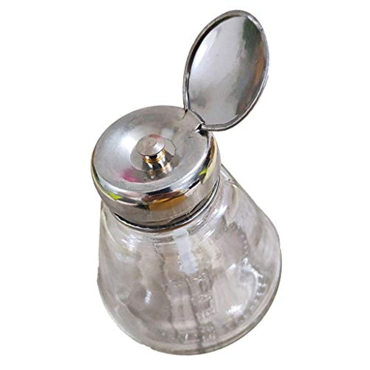 乳剤引き潮予測子空のマニキュアメイク落としポンプディスペンサーガラスプッシュダウンプレスボトル150ミリリットル用アルコールアセトン
