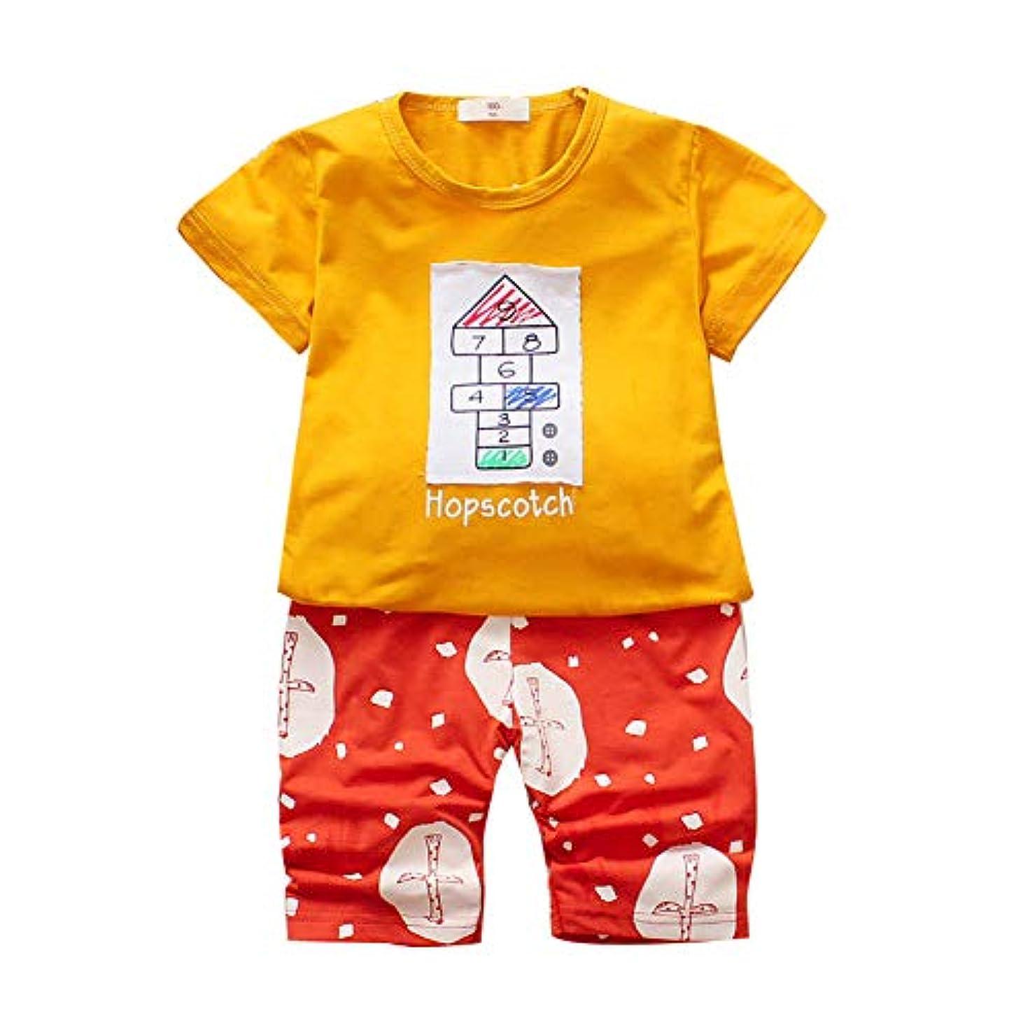 ジョージスティーブンソン作動するマージRad子供 夏の赤ちゃん男の子半袖ブロックプリントTシャツトップス+花柄ショートパンツカジュアルスーツコスチュームセット