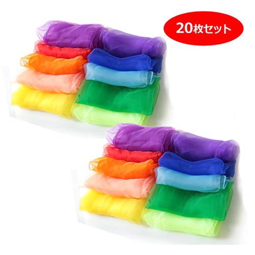 リトミック シフォン スカーフ 10色セット 60㎝角 子ども レクリエーション ジャグリング ダンス(20枚セット)