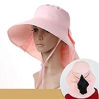 Py 日曜日の帽子旅行旅行帽子の紫外線保護浜の帽子の方法折り畳み式の屋外の日曜日の帽子 (Color : Pink)
