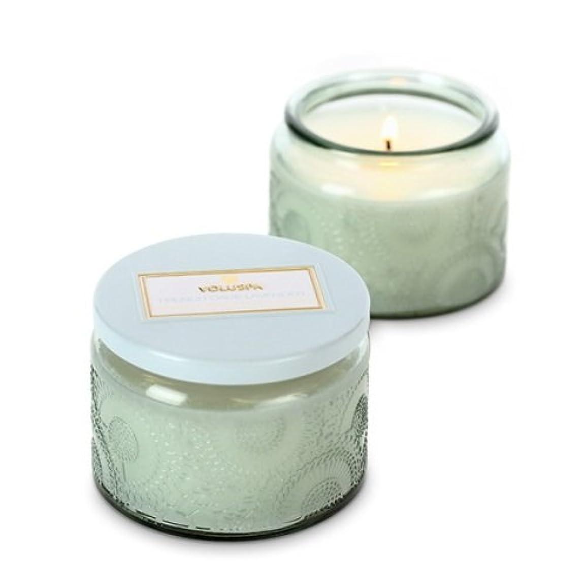 まぶしさ腰平らなVoluspa ボルスパ ジャポニカ グラスジャーキャンドル S フレンチケード&ラベンダー JAPONICA Glass jar candle FRENCH CADE LAVENDER