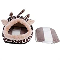 暖かいペットベッド ハムスターベッド ペットクッション 小動物ハリネズミ ハウス ハリネズミ/ハムスター/モルモット/チンチラなどに適する 取り外し可能なクッション 家 保温 防寒 キリン型ベッド