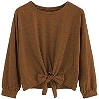 Romwe Women's Cute Knot Front Drop Shoulder Sweatshirt Plain Round Neck Long Sleeve T-Shirt Crop Top Blouse