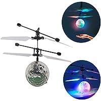 Hensych フライングボール 赤外線誘導 LEDボール ヘリコプター感応飛行器 きらきら光る LED照明を内蔵 閃光 飛行 RC 子供 キッズおもちゃ-カラフル