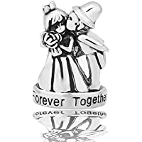 CandyCharms Wedding Charms Bride & Groom Love Forever Together Beads for Charm Bracelets