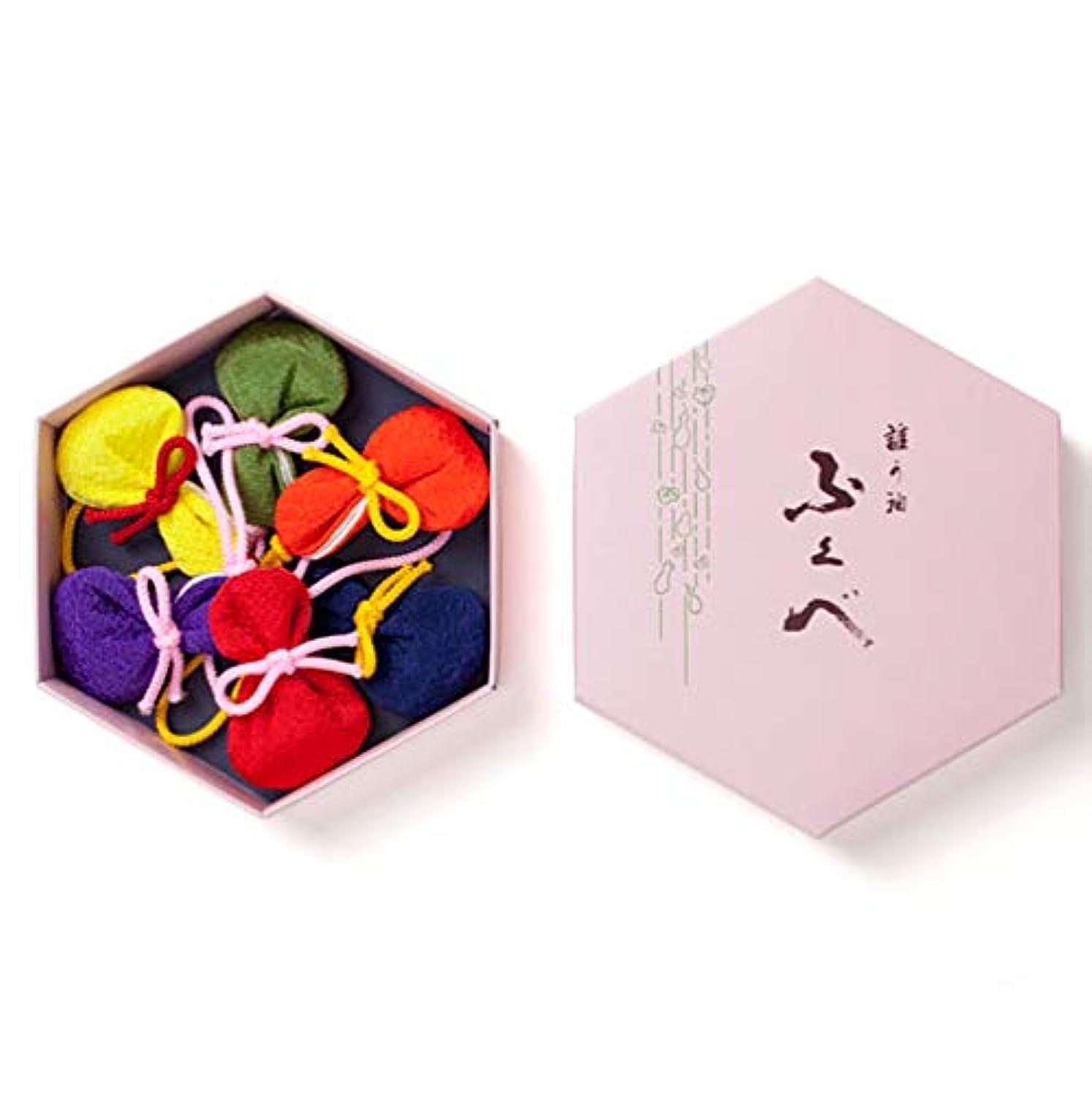 乱闘ケント演じる松栄堂 誰が袖 ふくべ 匂い袋 6個入 (柄?無地) (無地)
