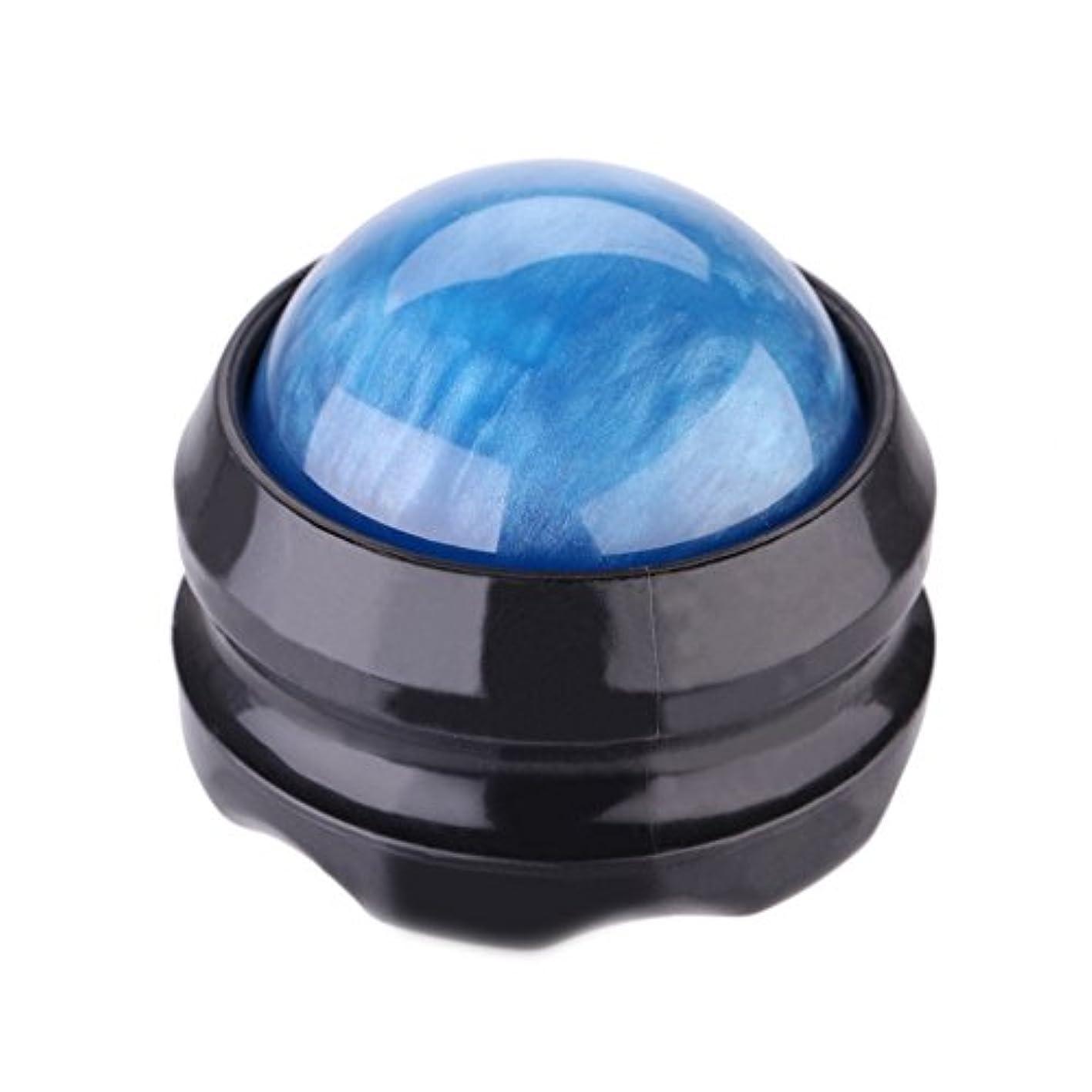 変位母記者Trueland マッサージ ボール 360度回転 背中 首 腰 筋膜リリース 健康器具 (青)
