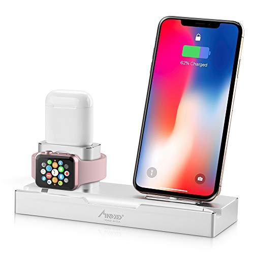 Apple watchスタンド iPhone スタンド Madgiga iphone充電スタンド スマホ スタンド スマートフォン充電クレードル アップルウォッチ 両用 iPhone/iPad/iWatch/AirPods/iPhone Pencil用の取り外し可能なクレードル アルミニウム合金