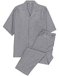 YOSO (良創) パジャマ メンズ 長袖 綿100 前開き 二重 ガーゼ 上下 セット 春 秋