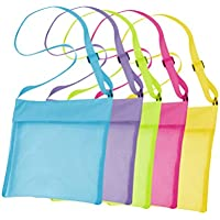 LIOOBO 5pcs Mesh Sea Shell Collecting Bags Beach Sand Toys Bags Shoulder Strap Bags Beach Treasures Seashell Mesh Bags Toy Storage Bags for Kids
