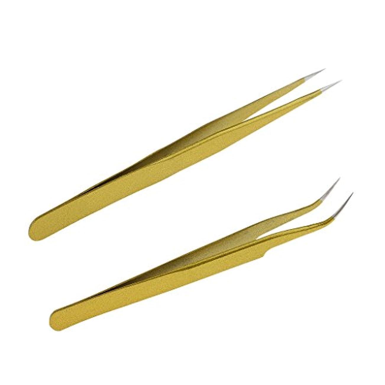 団結する資金石炭毛抜き ピンセット ステンレス 曲線 ストレート まつげエクステンション ゴールド 2本セット
