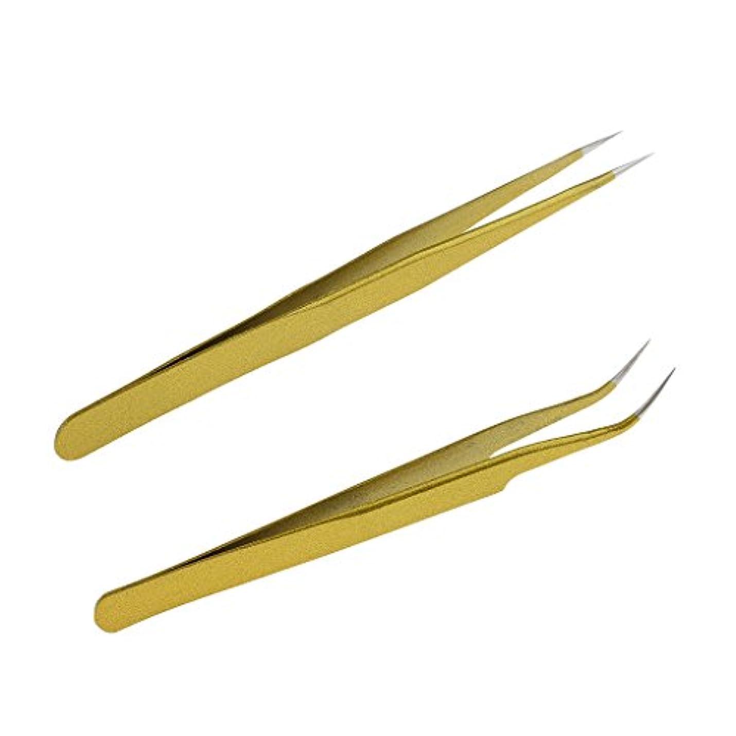 苦行略すセットアップ毛抜き ピンセット ステンレス 曲線 ストレート まつげエクステンション ゴールド 2本セット
