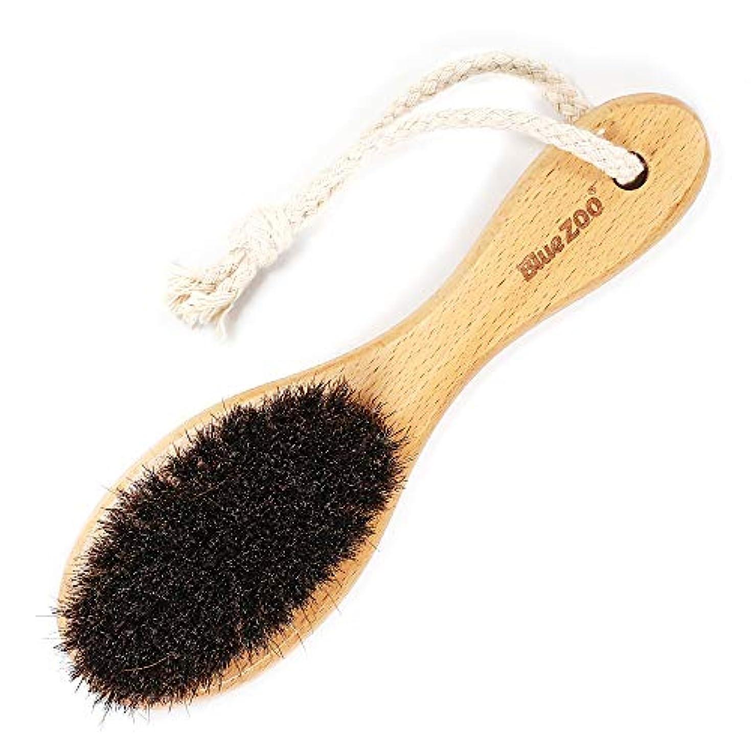 味付け傾斜喪Decdeal ひげブラシ 多機能 馬毛 ヘアブラシ/バスブラシ木製ハンドルボディマッサージブラシ 理容 洗顔 髭剃り