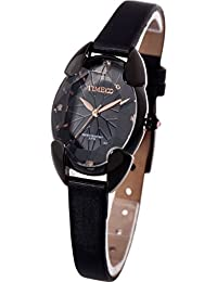 661d9f8467 Time100 多面ひし形クリスタル サテンバンド 日本製クオーツ(SEIKOPC21Movt) レディース腕時計 ブラック#