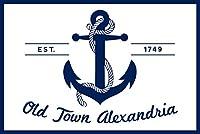 Old Town Alexandria、バージニア州–ブルーとホワイトアンカー 16 x 24 Signed Art Print LANT-80057-709