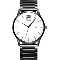 TBS Mens Designer Wristwatch- Premium All White Face Design with Steel Wrist Band