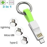 USBマルチケーブル ライトニングケーブル 短い 急速充電ケーブル Micro usb/Type c/Lightning 3in1 充電コード 携帯 キーホルダー 充電器 ミニ ポケット設計 地震/災害/旅行/出張/アウトドア活動などの必携品 通用する iOS/Android(オレンジ)