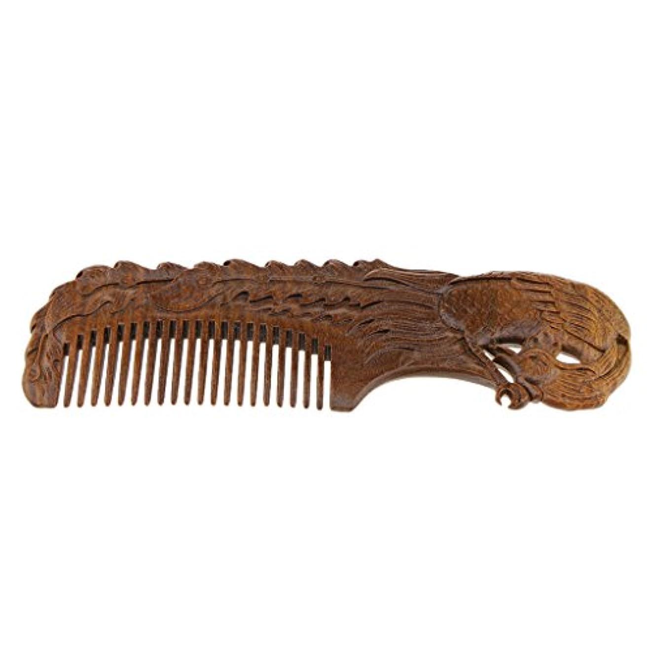 区頂点休戦ウッドコーム 木製コーム 木製櫛 ヘアブラシ ヘアコーム 滑らかな歯 頭皮マッサージ 全2種類選択 - Phoenix