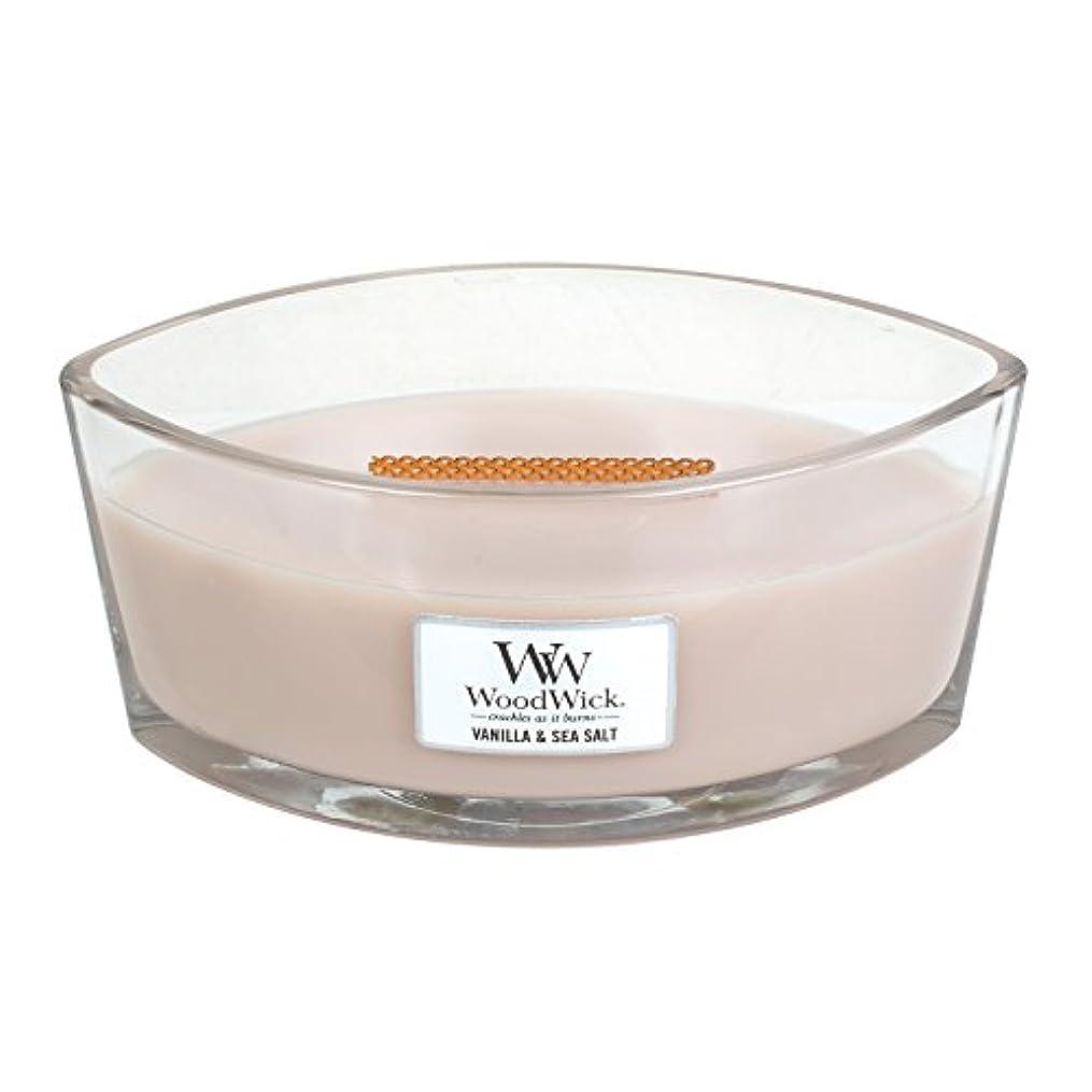 符号叱るキャプテンWoodWick VANILLA & SEA SALT, Highly Scented Candle, Ellipse Glass Jar with Original HearthWick Flame, Large 18cm, 470ml