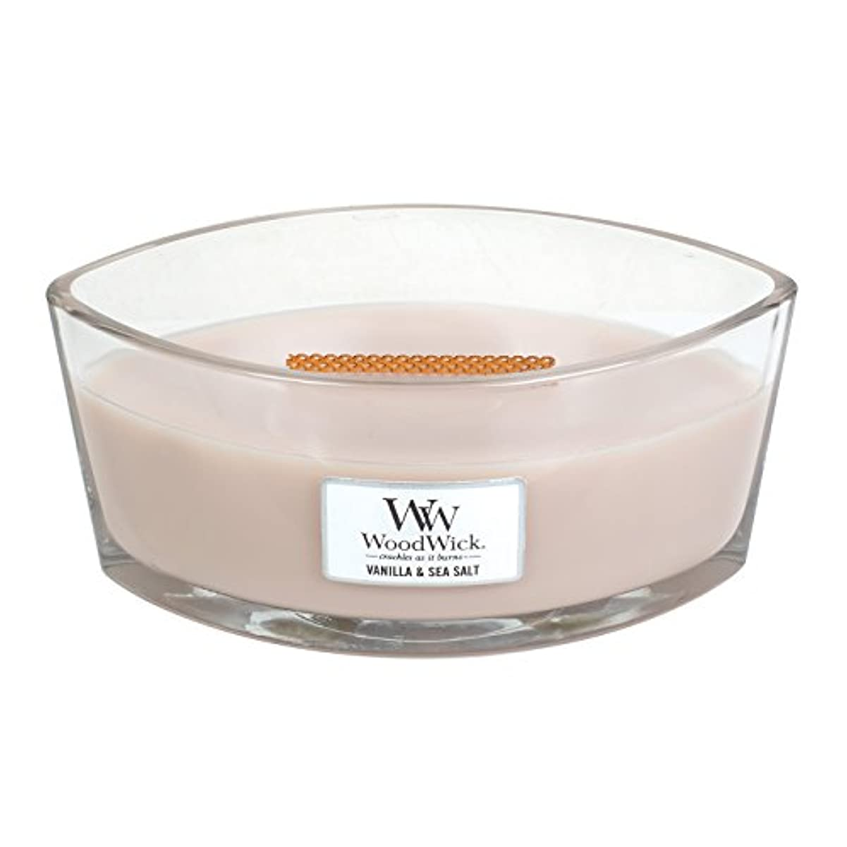 情緒的サイレン浴室WoodWick VANILLA & SEA SALT, Highly Scented Candle, Ellipse Glass Jar with Original HearthWick Flame, Large 18cm...