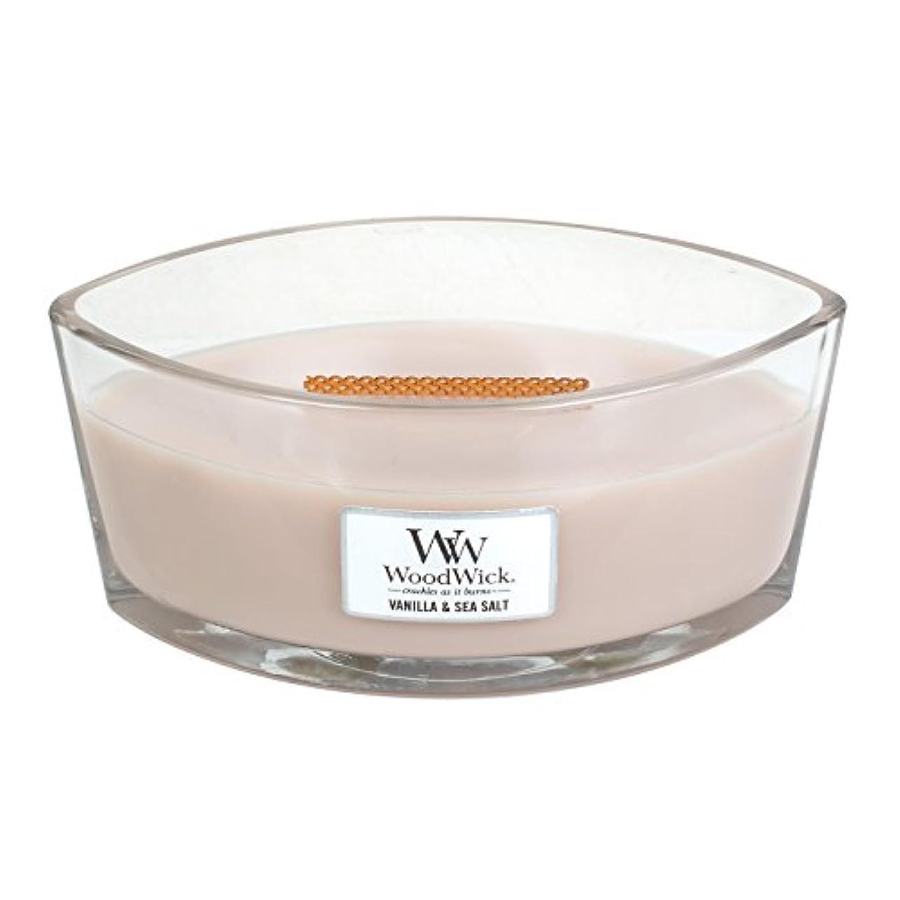 無傷アイロニー鉱石WoodWick VANILLA & SEA SALT, Highly Scented Candle, Ellipse Glass Jar with Original HearthWick Flame, Large 18cm...