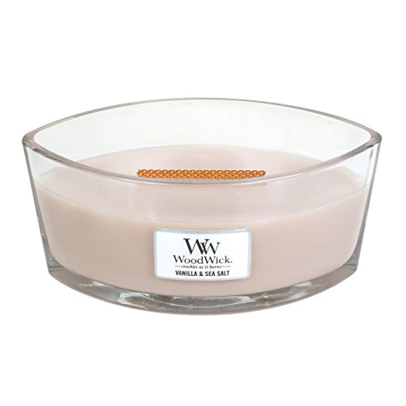 オーバードロースーツケース枕WoodWick VANILLA & SEA SALT, Highly Scented Candle, Ellipse Glass Jar with Original HearthWick Flame, Large 18cm, 470ml